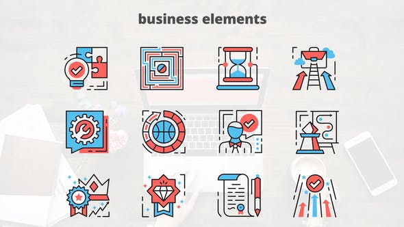 Thumbnail for Business Elements – Thin Line Icons