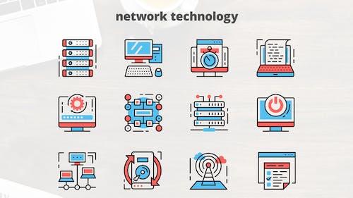Netzwerktechnologie — Thin Line Icons