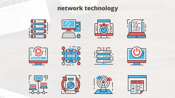 Thumbnail for Network Technology – Thin Line Icons