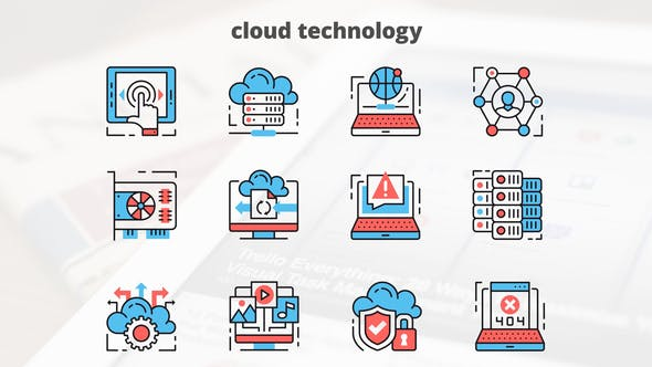 Thumbnail for Cloud Technology – Thin Line Icons