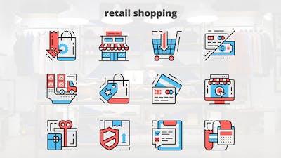 Retail Shoping – Thin Line Icons