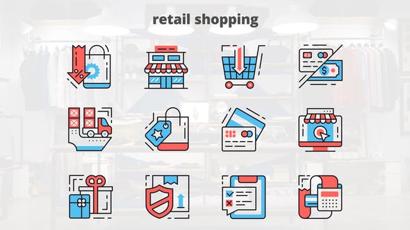 Thumbnail for Retail Shoping – Thin Line Icons