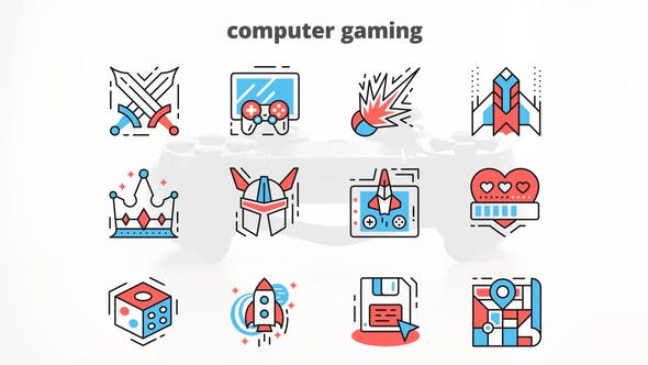 Thumbnail for Computer Gaming – Thin Line Icons