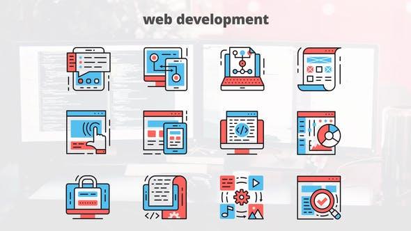 Thumbnail for Desarrollo Web — Íconos de línea delgada