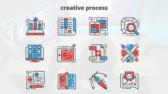 Thumbnail for Creative Process – Thin Line Icons