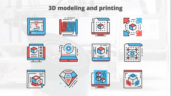 Thumbnail for 3d Modeling And Printing – Thin Line Icons