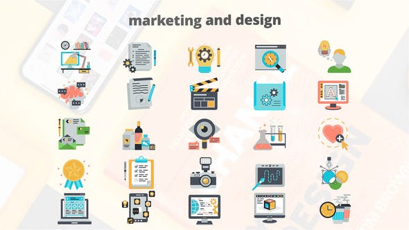 Thumbnail for Marketing And Design – Flat Animation Icons