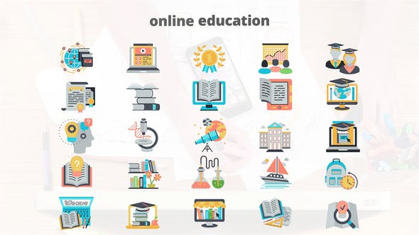 Thumbnail for Online Education - Flat Animation Icons