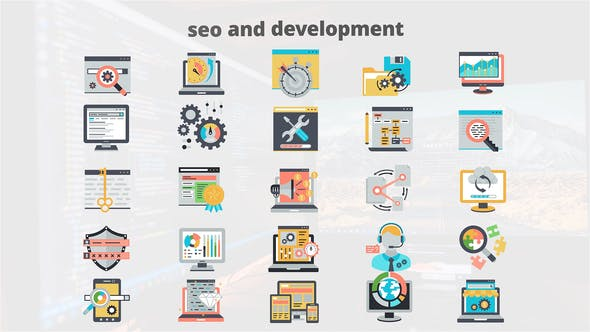 Thumbnail for SEO And Development - Flat Animation Icons