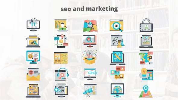 Thumbnail for SEO And Marketing - Flat Animation Icons