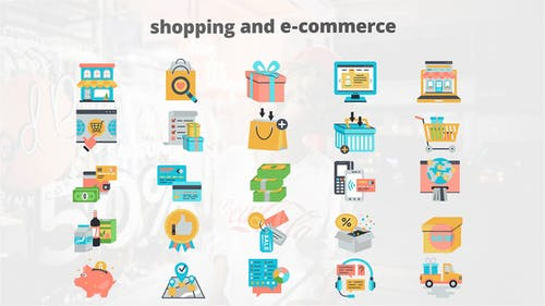 Shoping And Ecommerce - Flat Animation Icons