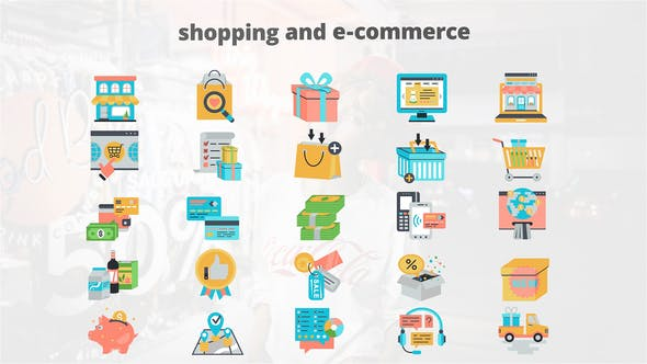 Thumbnail for Shoping And Ecommerce - Flat Animation Icons