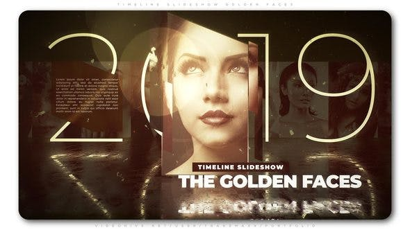 Thumbnail for Línea de tiempo Presentación de diapositivas Caras doradas