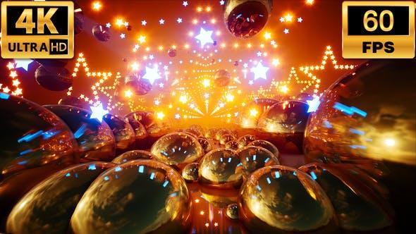 Neon Glowing Stars Tunnel 4k 60fps