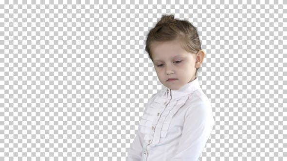 Thumbnail for Cute preschool girl standing being shy looking around and thinking