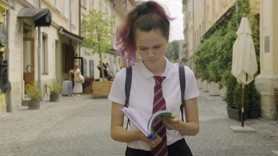 Thumbnail for Beautiful Student Teenager Girl with School Notebook