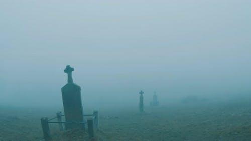 Cemetery Foggy Crosses