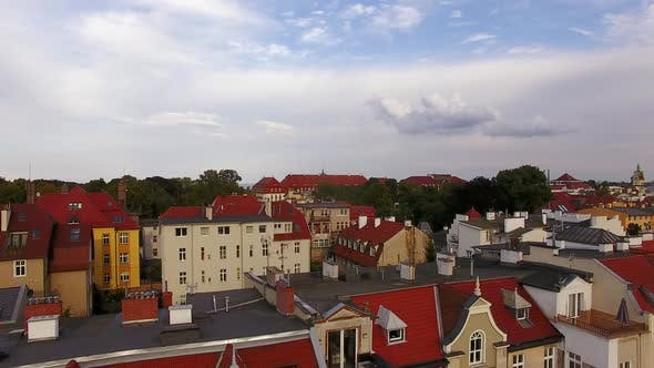 Aerial view of the cityscape of Sopot in the evening, Poland