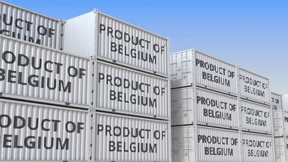 Thumbnail for Cargo Containers with PRODUCT OF BELGIUM Text