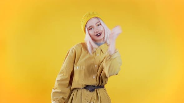 Thumbnail for Beautiful Woman with Pink Hair and Piercing Dancing and Snaps Fingers