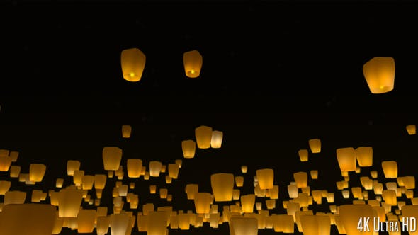 Thumbnail for 4K Sky Lanterns Released at Night
