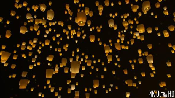 Thumbnail for 4K Sky Lanterns Flying at Night