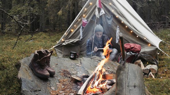 Adventurer Writting Journal by the Campfire and Vintage Tent