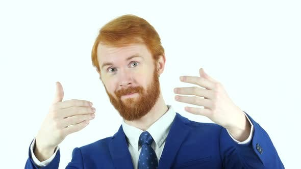 Thumbnail for Inviting Gesture by Red Hair Beard Businessman, Isolated