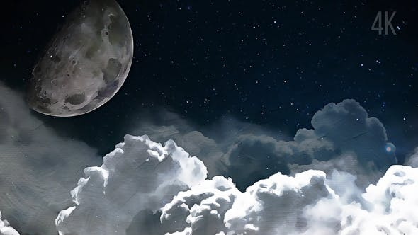 Thumbnail for Moon and Clouds Painting