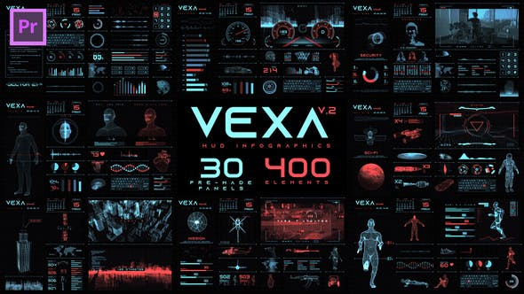 Thumbnail for Vexa HUD Infographics Essential Graphics | Mogrt