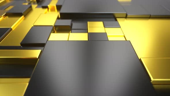 Abstract Moving Surface Made of Gold and Plastic
