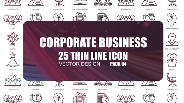 Thumbnail for Corporate Business – Thin Line Icons