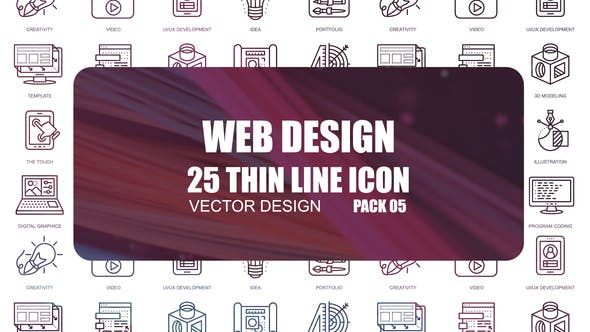 Thumbnail for Web Design – Thin Line Icons