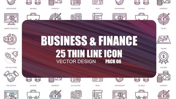Thumbnail for Business And Finance — Icones de ligne mince