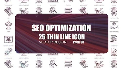 Seo Optimization – Thin Line Icons