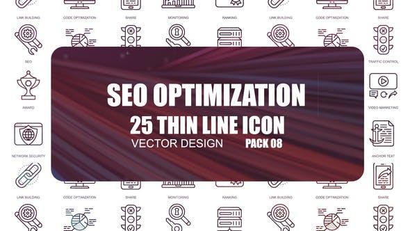 Thumbnail for Seo Optimization – Thin Line Icons