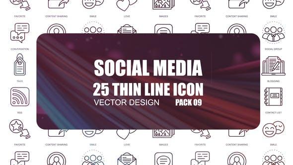 Thumbnail for Social Media – Thin Line Icons