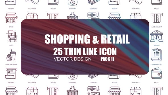 Thumbnail for Shopping And Retail – Thin Line Icons