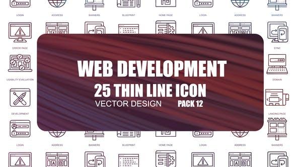 Développement Web — Icones de ligne mince