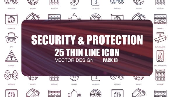 Thumbnail for Security And Protection – Thin Line Icons