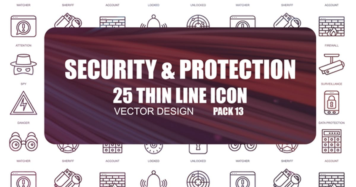 Security And Protection – Thin Line Icons by IconsX
