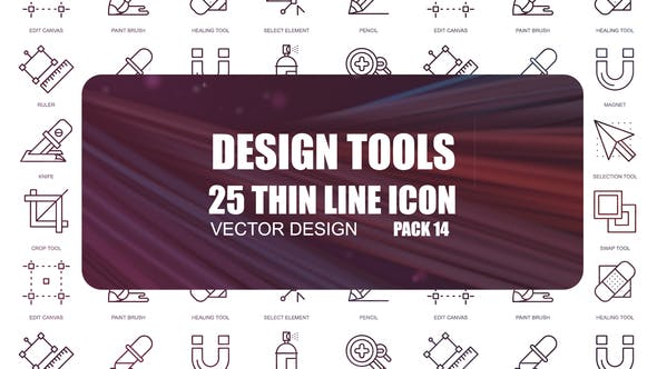 Thumbnail for Design Tool – Thin Line Icons
