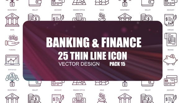 Thumbnail for Banking And Finance – Thin Line Icons
