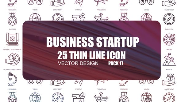 Thumbnail for Business Startup – Thin Line Icons