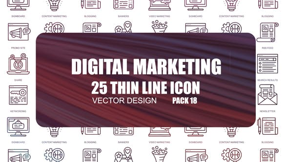 Thumbnail for Digital Marketing – Thin Line Icons