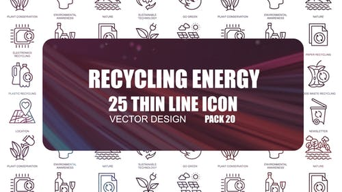 Recycling Energy – Thin Line Icons