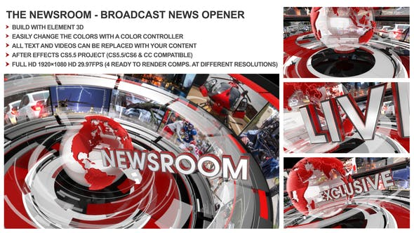 Thumbnail for The Newsroom - Broadcast Design News Opener