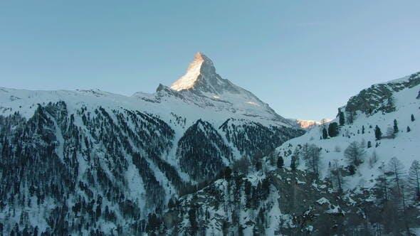 Matterhorn Mountain in Winter Morning Swiss Alps Switzerland