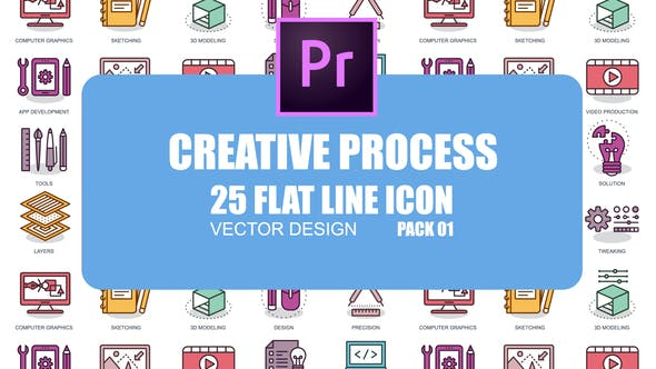 Thumbnail for Creative Process - Flat Animation Icons (MOGRT)