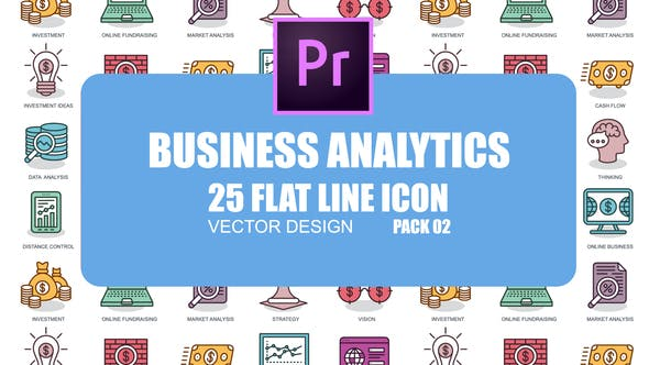 Thumbnail for Business Analytics - Icones d'animation plate (MOGRT)